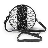 BAODANLA Bolso redondo mujer Women's Round PU Leather Crossbody Messenger Shoulder Bag Music Note White And Black Circle Tote Hobo Bag For Women Sling Bag