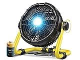 Ventilador Portatil, Poderoso Ventilador Silencioso con Banco de Energía de 14400 mAh, Ventilador Camping con Luz, 360°Ajustable Ventiladores de Mesa para Oficina/ Camping/ Viajes