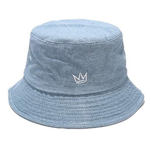 Bciou - Gorro unisex estilo vintage, estilo vaquero lavado, con bordado de corona, protector solar, gorra de...