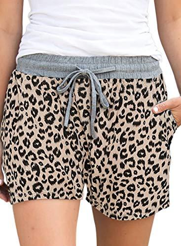 ELF QUEEN Women's Shorts Mid Waist Relax Elastic Waistband Summer Drawstring Shorts Leopard Print Khaki XL