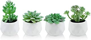 Dream Allison Artificial Plants Desk Fake Succulents Indoor Decor Office Room Decoration Small Tiny Realistic Plants in White Ceramic Potted (Green, 4 Pots)