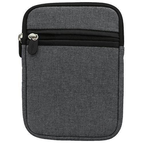 XiRRiX eBook Reader Tasche aus Neopren mit Reißverschluss - Größe 6 Zoll (15,24cm) kompatibel mit Tolino eReader Modelle - Hülle grau