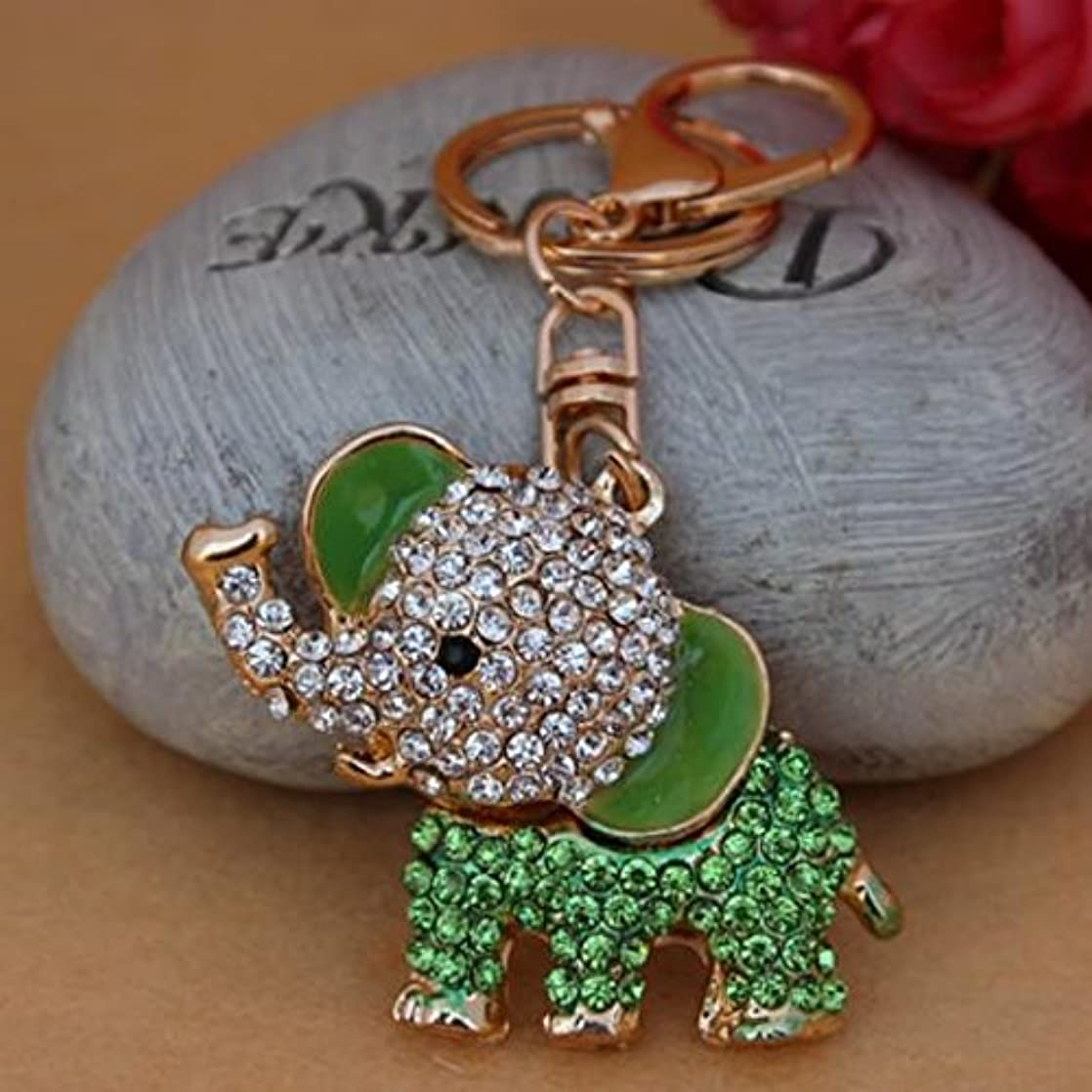 New Lucky Elephant Keychain Bag Charm Rhinestone Anmial Key Ring Cute Gift, Green unveptpu18434
