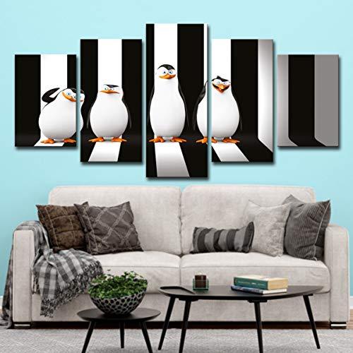 upnanren 63 CM Enmarcado 5 Tablero Moderno decoración del hogar Pintura pingüino Rayado Madagascar