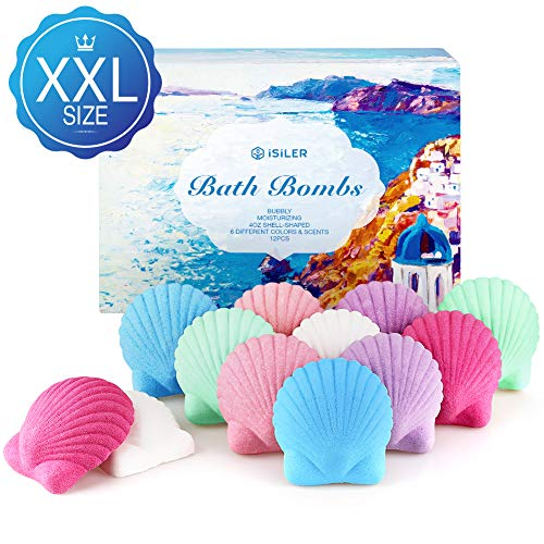 iSiLER Bath Bombs Gift Set, 100% Handmade Pure Essential Oil Bath Bombs, 12 Count x 4OZ Large Natural Ingredients Bubble Fizzes for Bubbly Spa Bath, Idea Gift Kits for Woman, Kids, Valentine's Day