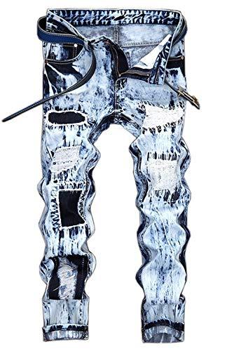 Herren Vintage Distressed Zerrissene Slim Fit Stretch Biker Jeans Hosen Mit Löchern Männer Festlich Fashion (Color : Stil 5, Size : 34 = T:86 5 cm)