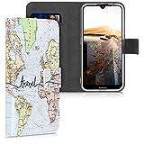 kwmobile Wallet Hülle kompatibel mit Nokia 2.2 - Hülle Kunstleder mit Kartenfächern Stand Travel Schriftzug Schwarz Mehrfarbig