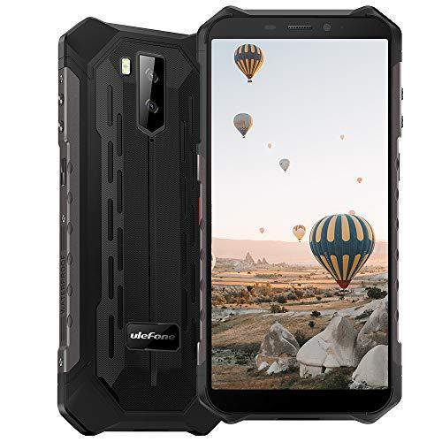 Ulefone Armor Pro (2020) 4G Smartphones Portable Incassable Android 10, Écran 5.5 Pouces HD+, 64Go + 4Go Batterie 5000mAh, Double SIM FM Face ID Smartphone Pas Cher Mode sous-Marin et Gant - Noir