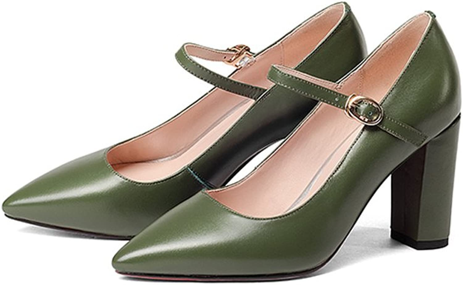 YUBIN Spring Youth Heels Fashion Wild Leather Shallow Mouth shoes Female Thick with A Word Buckle with Pointed Leather shoes (color   Green, Size   37)