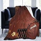 Couverture en polaire ultra douce pour adulte - Motif rugby grunge avec éléments de jeu - Image artisanale - 203,2 x 152,4 cm - Bordeaux
