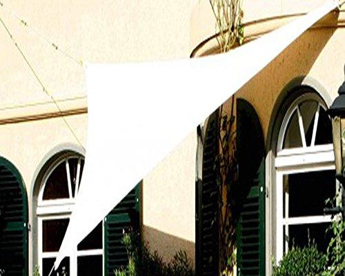 PEGANE Voile d'ombrage Triangulaire Ivoire en Polyester 200g/m² Anti-UV, 360 x 360 x 360 cm avec kit de Fixation