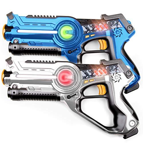 USA Toyz Laser Tag Toy Guns for Boys and Girls - 2pk Kids Toys Multiplayer Shooting Game Lazer Tag Set w/ 2 Laser Tag Guns for Kids and Adults (Blue and White)