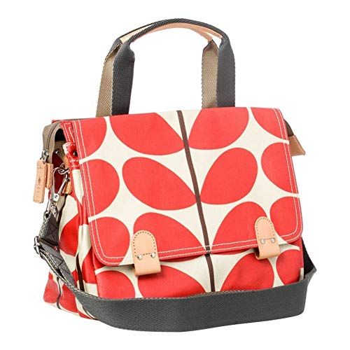 Orla Kiely Red Solid Stem Print Small Zip Satchel