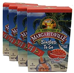 Each case contains 4 boxes, each box has 6 tasty sticks of Margaritaville Singles To Go powdered drink mix giving you a total of 18 refreshing single servings. Margaritaville Singles To Go are sugar free, caffeine free and have only 5 calories. Each ...