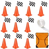 OOTSR 9 inch Plastic Traffic Cones with Checkered Flags, Agility Field Marker Cones with Black & White Racing Flags for Indoor/Outdoor Activities Fitness Training Physical Education Safety Practice
