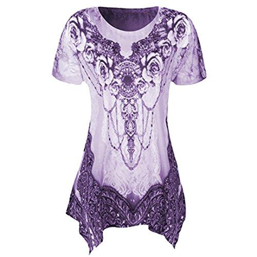 VEMOW Sommer Mode Elegante Damen Frauen Oansatz Plissee Plus Größe Kurzarm Casual Daily Dance Party Bluse Top Tunika Shirt T-Shirts Pulli Tees(Lila, 52 DE / 5XL CN)