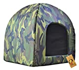 Foodie Puppies Soft & Light Weight Designer Luxurious Foldable Pet Tent Kennel Den House for Puppies & Dogs (Army Print Den House, 50cm X 50cm X 55cm)