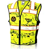 KwikSafety (Charlotte, NC) UNCLE WILLY'S WALL (X-Large Yellow)| 10 Pockets Class 2 ANSI High Visibility Reflective Safety Vest Heavy Duty Mesh with Zipper HiVis for Construction Work HiViz Men