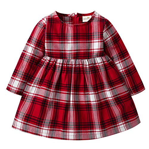 0-4 Años,SO-buts Niña Pequeño Bebé Niña Otoño Invierno Manga Larga A Rayas A Cuadros Fiesta Casual Princesa Vestido Ropa (Rojo,3-4 años)