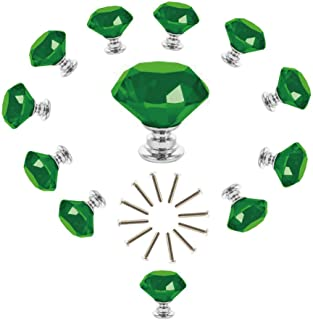 ANJUU 12 Pcs 30mm Diamond Shape Crystal Glass Cabinet Knobs with Screws Drawer Knob Pull Handle Used for Kitchen, Dresser, Door, Cupboard (Green)