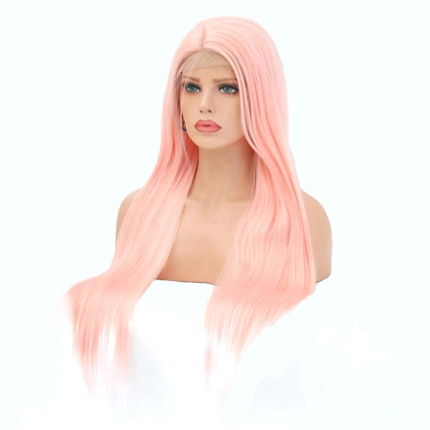 トラックかもしれない温室Koloeplf 女性のためのフロントレースウィッグピンクの長いストレートの髪の化学繊維ウィッグヘッドギア