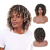 SuCoo Dreadlock Wigs Braided Wigs For Black Women Short Afro Dreads Wig For Black Men Curly Twist Ombre Wig Heat Resistant Synthetic Daily Party Replacement Wigs (T1B/27)