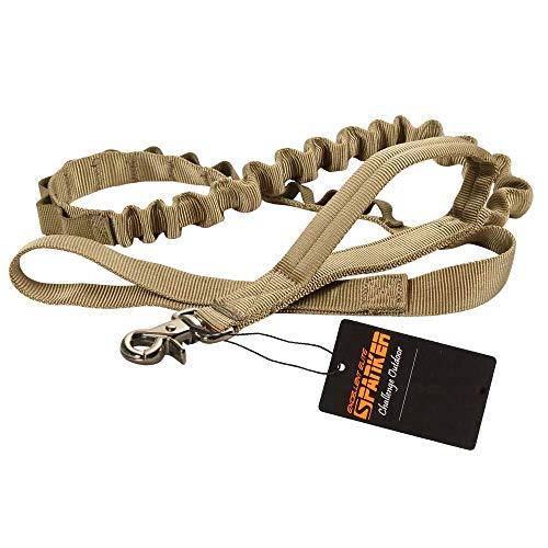 EXCELLENT ELITE SPANKER Guinzaglio per Cani Bungee Guinzaglio per Cani tattico Guinzaglio in Nylon Regolabile per Cani Guinzaglio per Cani Militare a sgancio rapido con 2 Maniglie di Comando(Marrone)