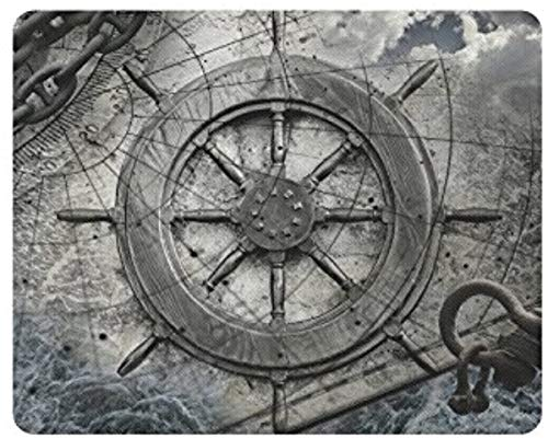 Vintage Navigation Anchor and Steering Wheel Rectangle Non-Slip Rubber Laptop Mousepad Mouse Pads/Mouse Mats Case Cover