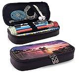 Beach Resort Sunset Pencil Pen Case Zipper Bag Stationery Pouch Holder Box Organizador para Middle High School Office College