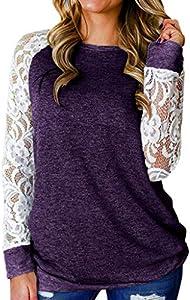WARMWORD Mujer Moda Cordón Floral Empalme Cuello Redondo Manga Larga Camiseta Blusa Tops Camisetas Mujer Suelto Pullover Cuello Redondo Manga Larga Otoño Sudadera Casual Loose tee