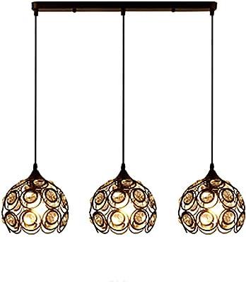 CCSUN K9 Cristal Lámpara de colgante, 3-luce Lámpara de techo ...