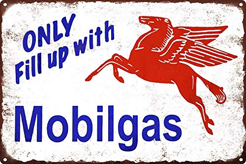 YASMINE HANCOCK Mobilgas Mobil Gas Oil Pegasus Pump Man Cave 8Metal Plaque Tin Sign Poster Metall Plaque Zinn Logo Poster Wand Kunst Cafe Club Bar Wohnkultur