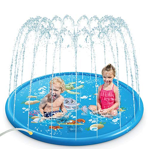 Eletorot Splash Pad, Sprinklers for Kids 68in Wading Swimming Pool for Babies and Toddlers Fun Summer Outdoor Water Toys Backyard Fountain Play Mat, Best for Boys & Girls