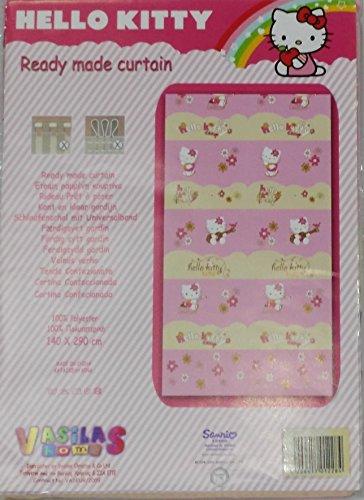 Panneau rideau Hello Kitty couleur rose 140 x 290 avec passants