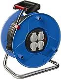 Brennenstuhl enrollacables Garant con alargador de 50 m y 4 tomas de corriente, plástico, uso en interiores, Fabricado en Alemania, azul