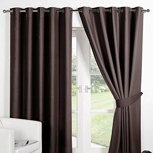 Dreamscene–opaco–cortina de confección con ollaos de lujo, marrón chocolate, 90x 137,16cm