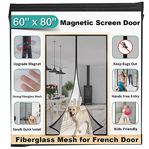 Mkicesky 60 x 80-Inch Magnetic Screen French, Fiberglass Mesh Curtain Durable, Keep Bug Out, Kids/Pets Entry Friendly Fit Door Opening Up to 58 x79-Inch Max, Black