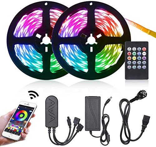 LED Strip 10m Bluetooth, Tomshine LED Streifen APP Steuerbar, LED band mit 44 Tasten IR-Fernbedienung Musical 5050 RGB für Zuhause, Schlafzimmer, TV, Schrankdeko, Party[Energieklasse A+]