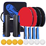 Richino Sets de Ping Pong Table Tennis Set,4 Palas Ping Pong Raquetas,8 Pelotas de Ping Juego de...