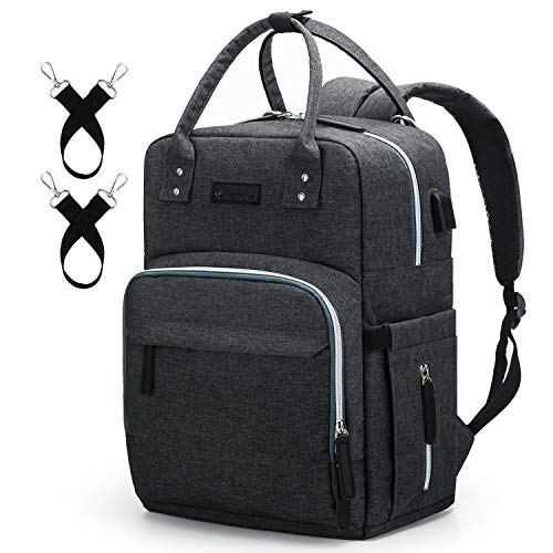 Diaper Bag Backpack Upsimples Multi-Function Maternity Nappy Bags for Mom&Dad, Baby Bag with Laptop Pocket,USB Charging Port,Stroller Straps -Dark Grey