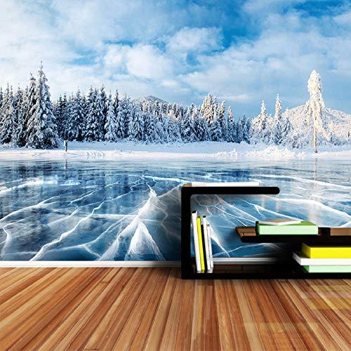 KAMAUAY Fondo De Pantalla 3D Invierno Frozen Lake Ice and Cracks Hills Pines Blue Sky para La Sala De Estar Papel De Pared-150X105Cm
