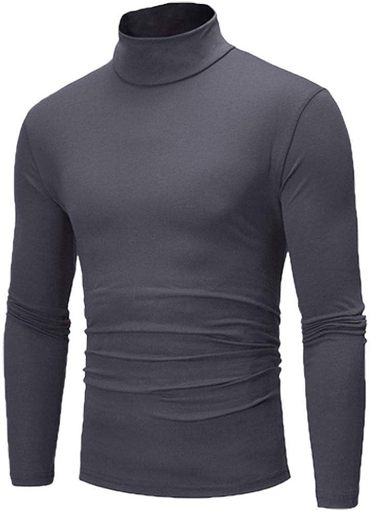 Dark Gray - Men's Winter Pullover Jumper Sweater Warm Cotton High Neck Turtleneck Tops