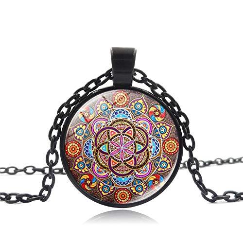 xtszlfj Collar Steampunk, Collares de Mandala, Colgante de Chakra, joyería OM para Mujer, cabujón de Cristal, Colgantes, Regalos Zen, joyería