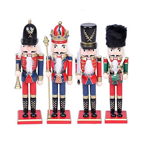 Exuberanter 4PCS Nussknacker Figur Groß Hölzerne Weihnachtsdeko Figuren Nussknacker Weihnachten Puppe Ornament, 30CM