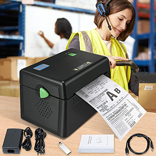 Impresora, Pant Impresora Térmica de Etiquetas adopta Cabezal de Impresión Japonés ROHM DHL Amazon UPS Impresora de Etiquetas de Envío de Alta Definición, Compatible con Windows/Mac