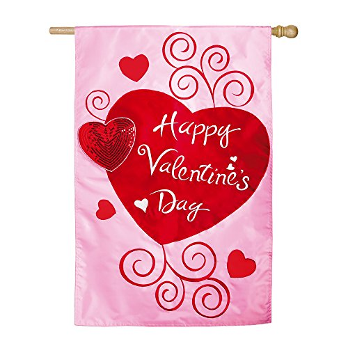 Fantastic Deal! Evergreen Flag Pink and Red Scroll Applique Valentine Hearts House Flag