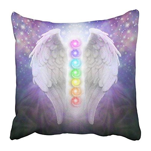Emvency - Coppia di federe per cuscino con stampa ali d'angelo, con chakra, tenebre e luce, in poliestere blu scuro, nero, con cerniera, 16 x 16 cm, per casa, letto, divano, divano