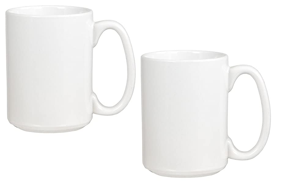 El Grande Style Large Ceramic Coffee Mug With Big Handle, White 15 oz. (Pack of 2)