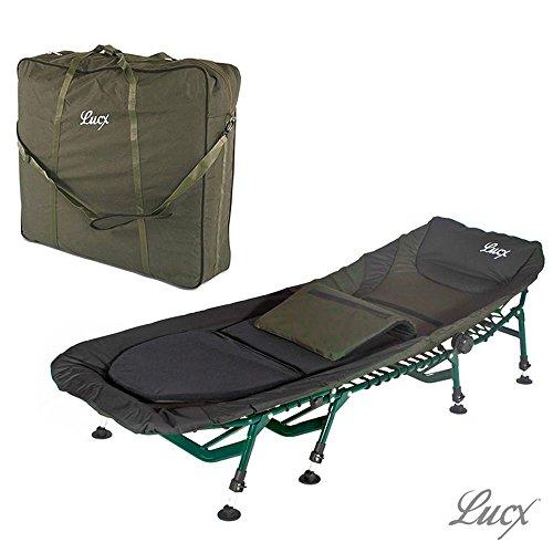Lucx® Set / 8 Bein Karpfenliege Komfort/Bedchair/Angelliege + Tragetasche/Transporttasche für Liege/Bedchair Bag 'XXL'