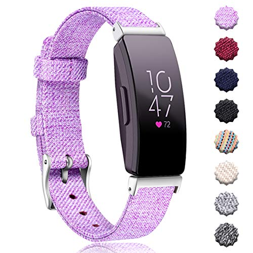 Maledan Replacement Bands Compatible with Fitbit Inspire HR and Inspire Activity Tracker, Breathable Woven Fabric Accessories Strap Watch Band for Women Men, Small, Lavender